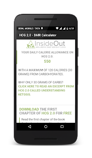HCG 2.0 BMR Calculator screenshot