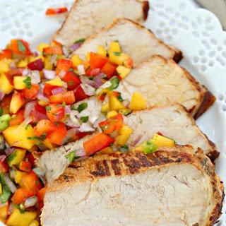 Grilled Garlic And Herb Pork Loin With Peach Salsa