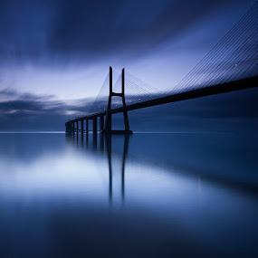 into the blue by Hugo Marques - Buildings & Architecture Bridges & Suspended Structures ( marques, canon, water, lee, sigma, tagus, blue, birdge, sunrise, morning, river, hugo )