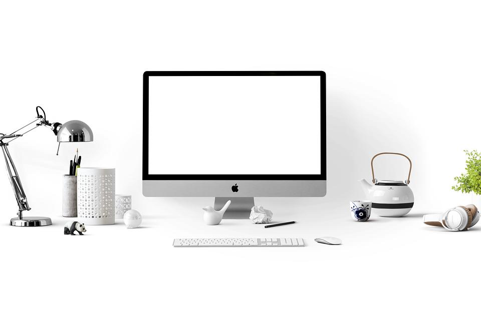 アップル, Appleデバイス, 単に, モックアップ, コンピュータ, オフィス, ホーム オフィス, 現代