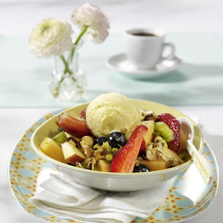 Summer Fruit Salad with Crunchy Nut Topping.