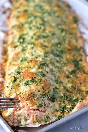Baked Salmon Recipe with Parmesan Herb Crust - Add a Pinch