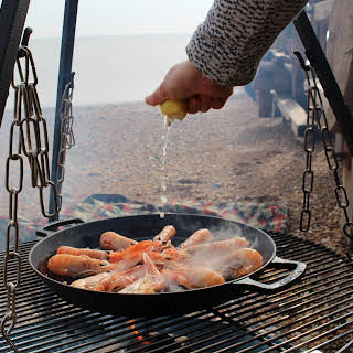 Lemon and Garlic Langoustines Cooked on the Beach.