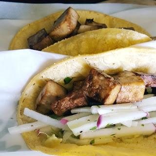 Baked Tofu Tacos with Kohlrabi Coleslaw.
