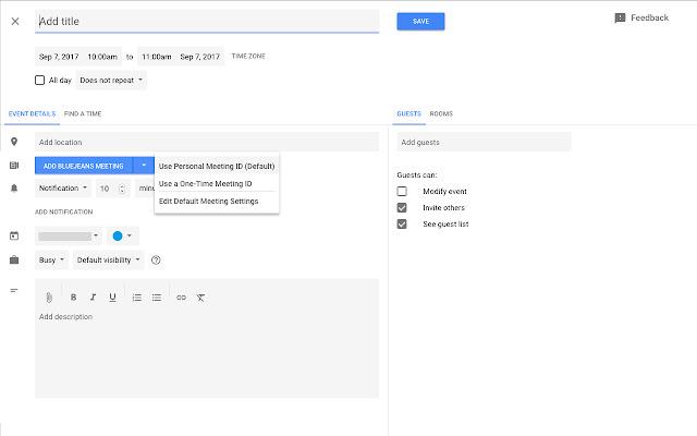 BlueJeans for Google Calendar