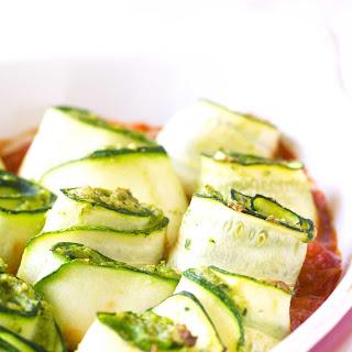 Protein-Packed Zucchini Roll-Ups with Marinara Sauce.