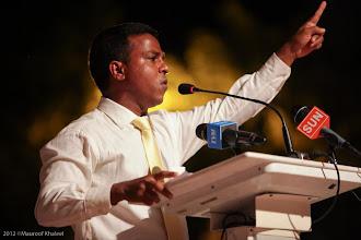 Photo: MP, Ihavandhoo Constituency, Ahmed Abdulla, Speaking at MDP Rally Artificial Beach. Photo: Maapu