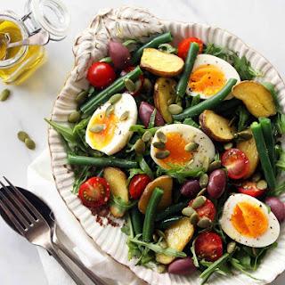 Rustic Dinner Salad w/ Roasted Potatoes, Olives & Eggs