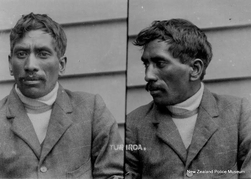 Photo: Turiroa (b. 1884, New Zealand). Charged with theft and sentenced to 1 month in gaol or a fine of 5 pounds sterling on 29 July 1909 (Napier). Photograph taken on 29 July 1909.