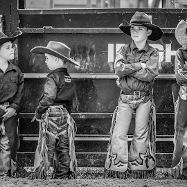 Little Cowboys by Denise Flay - Black & White Portraits & People