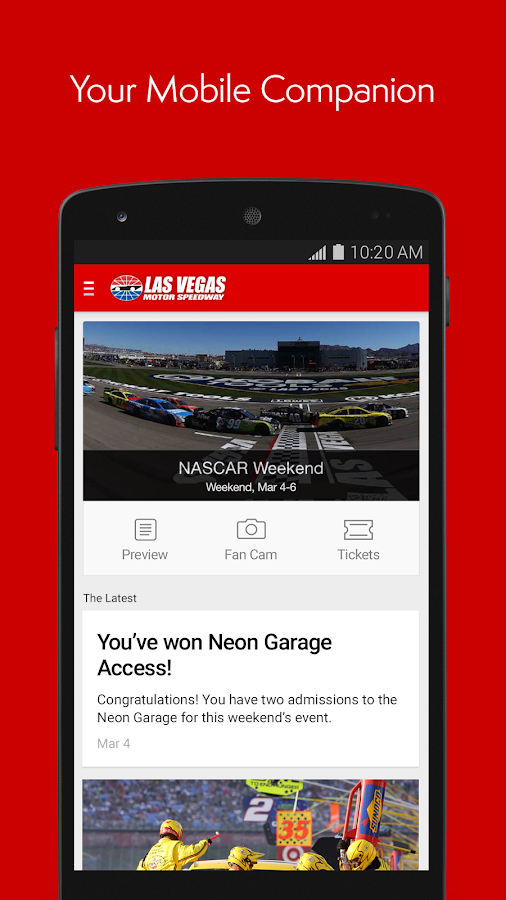 Las vegas motor speedway android apps on google play for Las vegas motor speedway transportation