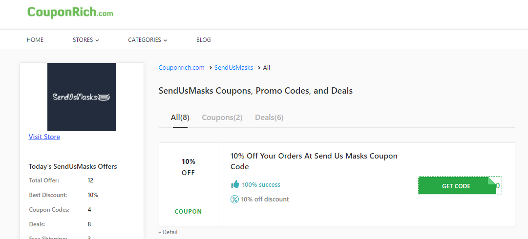 How to apply SendUsMasks 10% off coupon