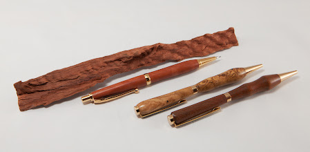 "Photo: Bob Browning 6"" pencil and pens [ipe, oak burl, red gum]"