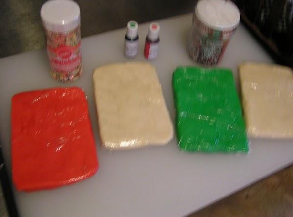 Place each quarter piece on a large piece of plastic wrap, pat it into...
