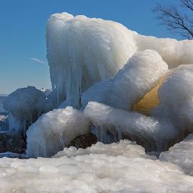 breakwater frozen over by Deborah Felmey - Uncategorized All Uncategorized ( rocks, weather, frozen, winter, cold, ice, bay,  )