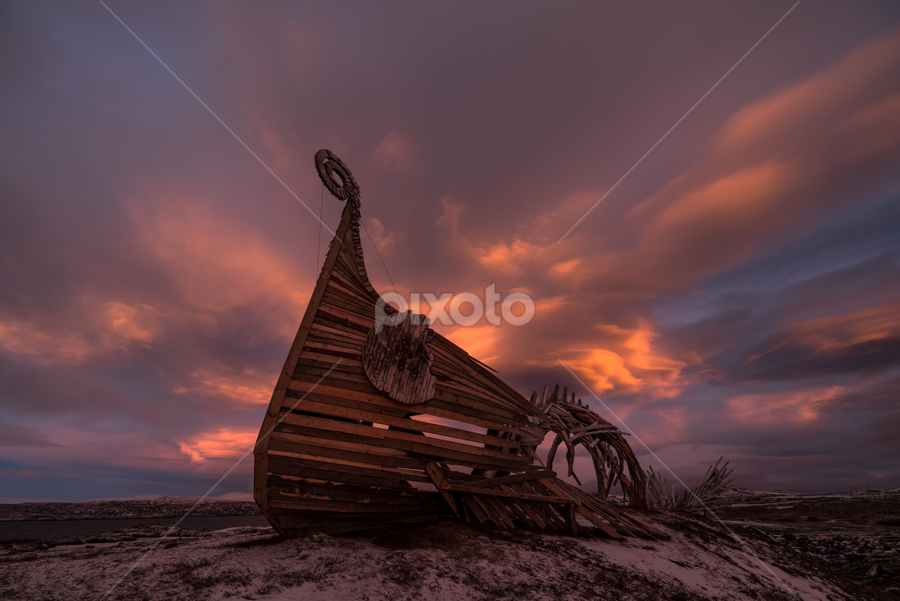 Drakkar by Eik Kristensen - Buildings & Architecture Statues & Monuments ( clouds, magic, beautiful, arctic, norway )