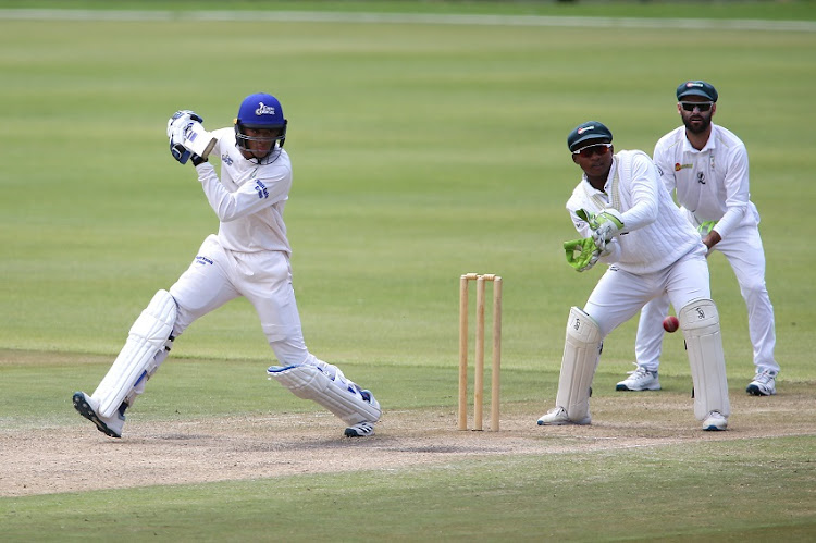 Thando Ntini of the Cape Cobras plays a delivery square during day 3 of the CSA 4 Day Series match between WSB Cape Cobras and Warriors at Newlands Cricket Stadium on October 30, 2019 in Cape Town, South Africa.