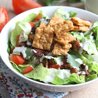 Classic BLT salad with Creamy Ranch and Chickpea Croutons