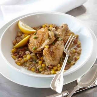 Braised Chicken with Succotash.