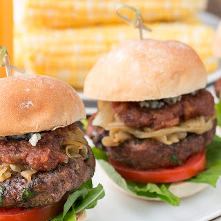 Lean Beef Burgers with Blue Cheese and Medjool Date Jam