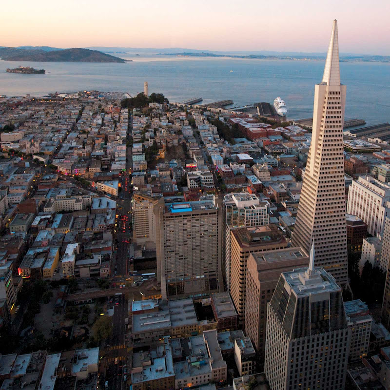 A view of the Transamerica Pyramid, San Francisco's tallest skyscraper.