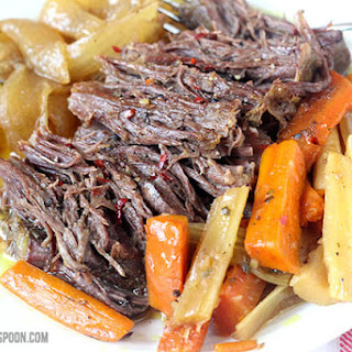 Slow Cooker Pot Roast with Homemade Onion Soup Mix.