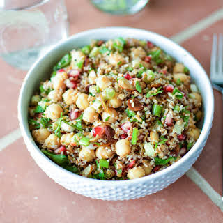 Bulgur Salad with Chickpeas, Pomegranate Seeds and Almonds.
