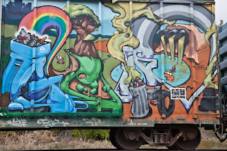 Photo: One more Austin graffiti piece for #SteetArtSunday  The Balcones Burner Bash is a benefit held at the Balcones Recycling Center where local artists are invited to paint entire train cars with themes that promote taking care of the environment and encourage recycling. If you look closely, you might see Blinky the 3 eyed fish from the #Simpsons on this train.  If you aren't familiar with the terminology: Burner (noun): An elaborate mural painted by an urban artist, usually on the side of a subway or railcar.  For more info about the Burner Bash read here: http://balconesburner.blogspot.com/   For more information about #StreetArt Sunday, read here: https://plus.google.com/108281923609340751312/posts/KrJWTKmscr8 #Austin #burner #streetart #graffiti #train
