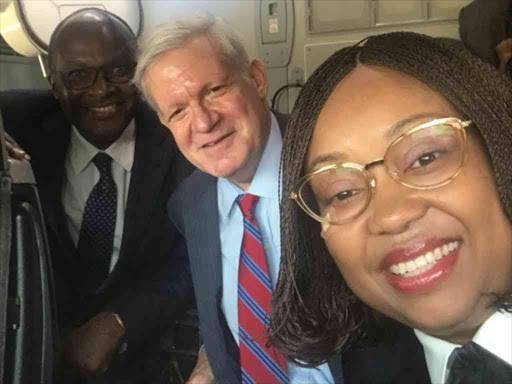 Transport CS James Macharia and US Under Secretary for International Trade Gilbert Kaplan visit Kenya Airways Captain Irene Koki's flight deck, June 27, 2018. /COURTESY