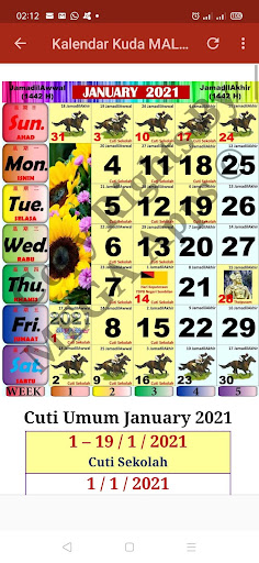 Kalendar Kuda Malaysia - 2021 ss1