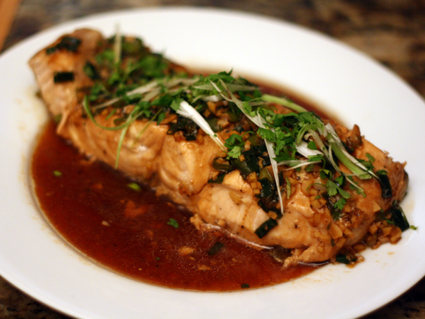 Steamed Salmon with Garlic and Ginger Recipe