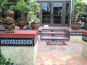 Photo: Malibu Tile Works - Stair Risers - Pillars - Private Residence - Long Beach, CA