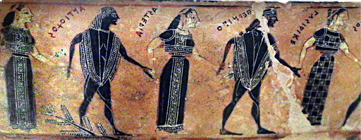 Detail of Dancers on Attic Black-Figure Volute-Krater, known as the François vase, ca. 570-565 BCE.png