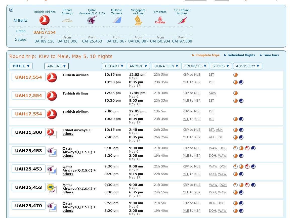 Как найти самые дешевые авиабилеты на Мальдивы с помощью сайта Матрикс шаг 3