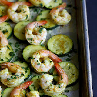 Roasted Curry Shrimp & Zucchini Sheet Pan Meal.