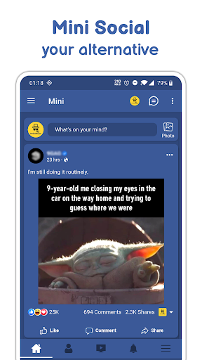 Mini Social - Your Social Network for Facebook 2.0.0 screenshots 1