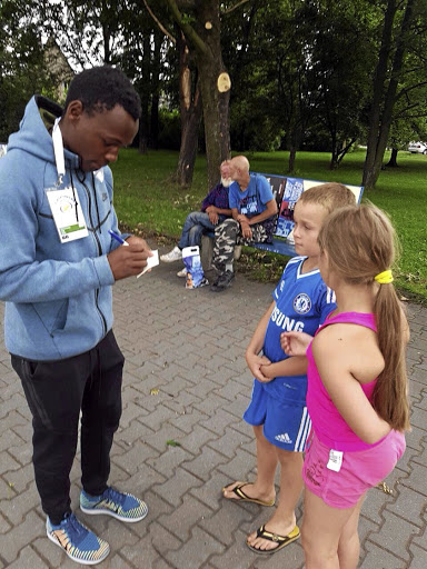 Clarence Munyai signing autographs after his magical run in the 300m in Ostrava, Czech Republic, in June 2017.