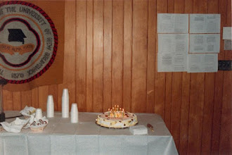Photo: 1986. APLA-10. University of New Brunswick. Murray Kinloch Souvenir Album, 6  The candles are lit...  Photograph by Jean Kinloch, caption by Murray Kinloch