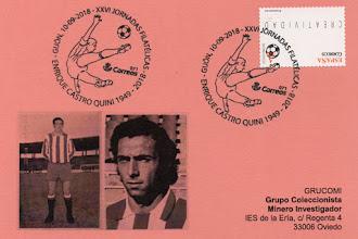 Photo: Tarjeta del GRUCOMI para el matasellos dedicado a Quini en las XXVI Jornadas Filatélicas del GFN de Gijón