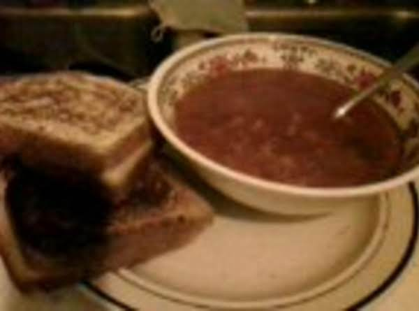 Cheaten Veggie Soup With Grilled Cheese Sandwich