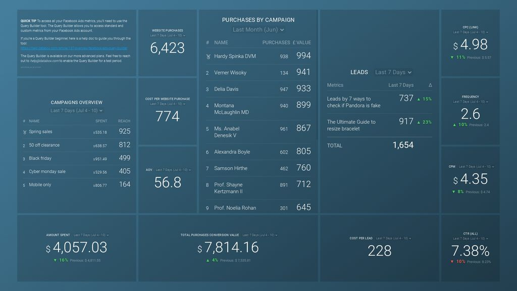 facebook ads purchase and leads breakdown dashboard