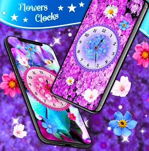 Flowers Analog Clock Live Wallpaper Screenshot