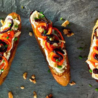 Whole Wheat Crostini with Whipped Gorgonzola, Roasted Beets and Carrots Recipe