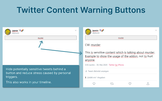 Twitter Content Warning Buttons