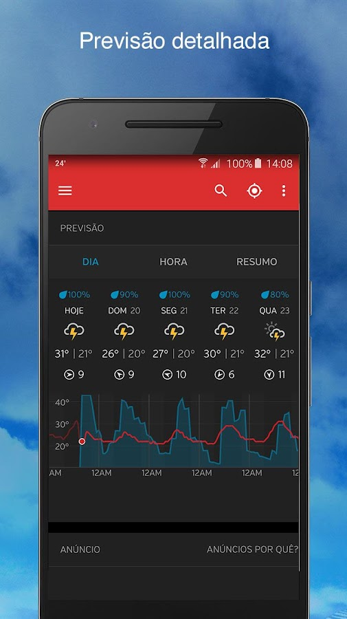Weather Underground: captura de tela