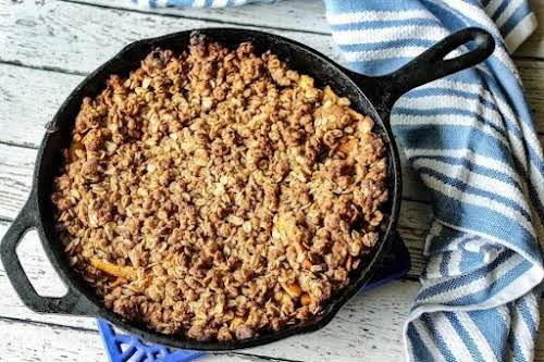 """Click Here for Recipe: Iron Skillet Peach Cobbler """"We loved this simple..."""