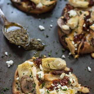 Pesto Chicken, Artichoke, and Feta Naan Pizza.