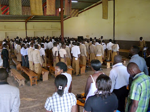 Photo: Secondary students gather in the big hall to listen to stories of graduated students