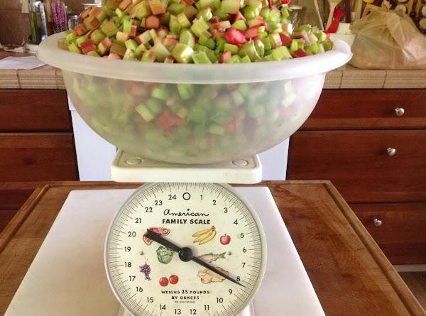 Wash and cut 8 lbs rhubarb.
