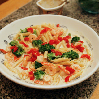 Creamy Penne with Broccoli and Shrimp.